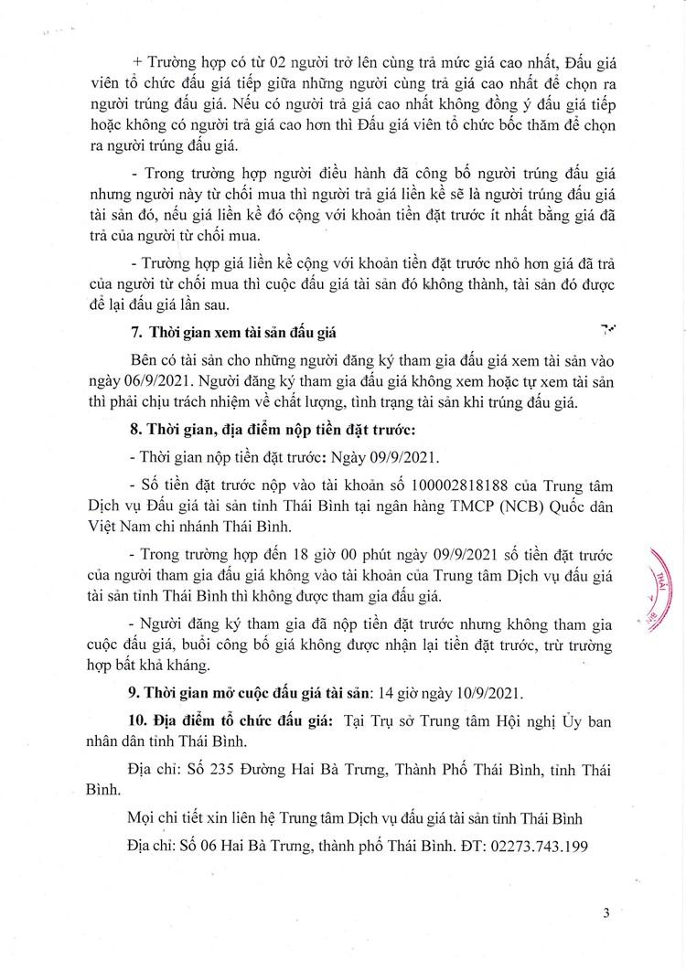 Ngày 10/9/2021, đấu giá xe ô tô Toyota tại tỉnh Thái Bình ảnh 4
