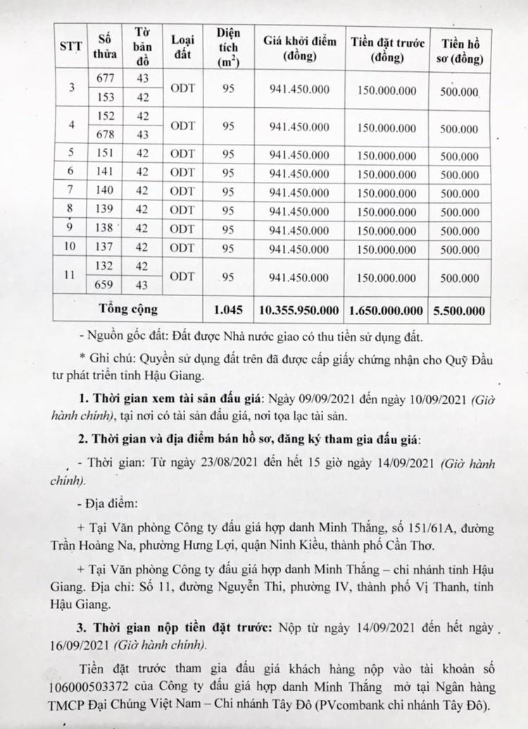 Ngày 17/9/2021, đấu giá quyền sử dụng 11 lô đất tại thành phố Ngã Bảy, tỉnh Hậu Giang ảnh 3
