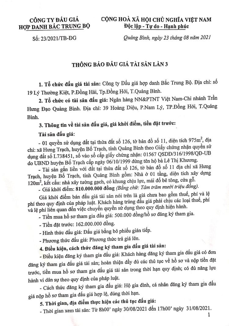 Ngày 21/9/2021, đấu giá quyền sử dụng 975m2 đất tại huyện Bố Trạch, tỉnh Quảng Bình ảnh 2