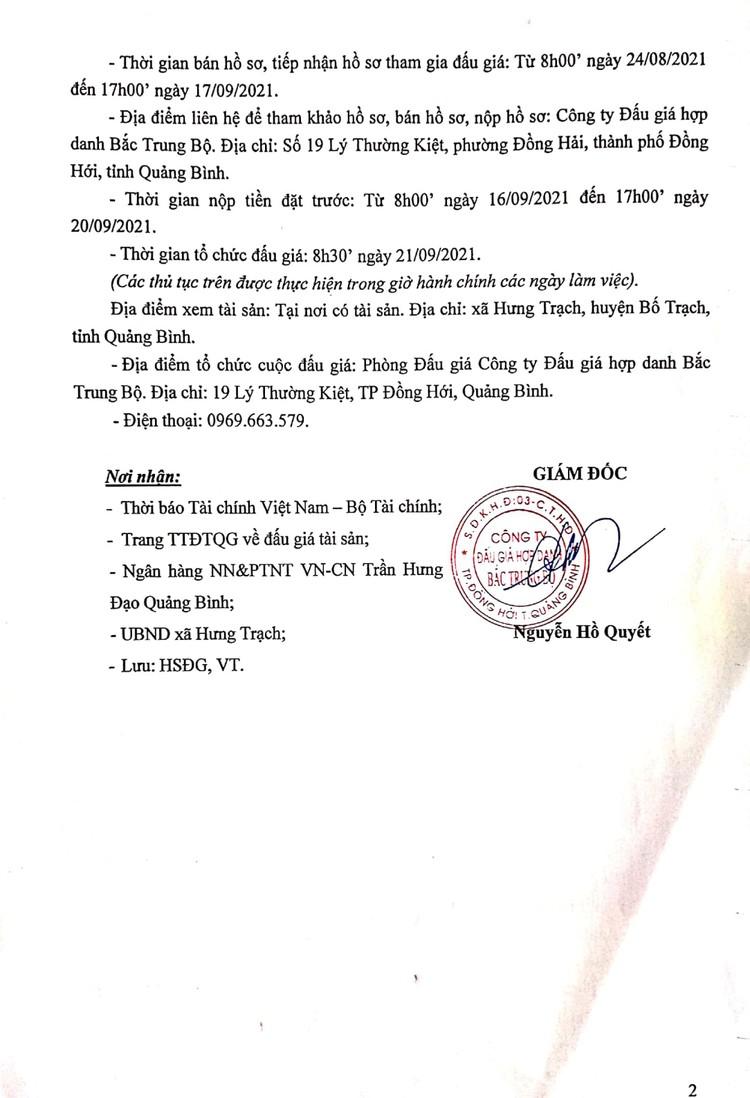 Ngày 21/9/2021, đấu giá quyền sử dụng 975m2 đất tại huyện Bố Trạch, tỉnh Quảng Bình ảnh 3