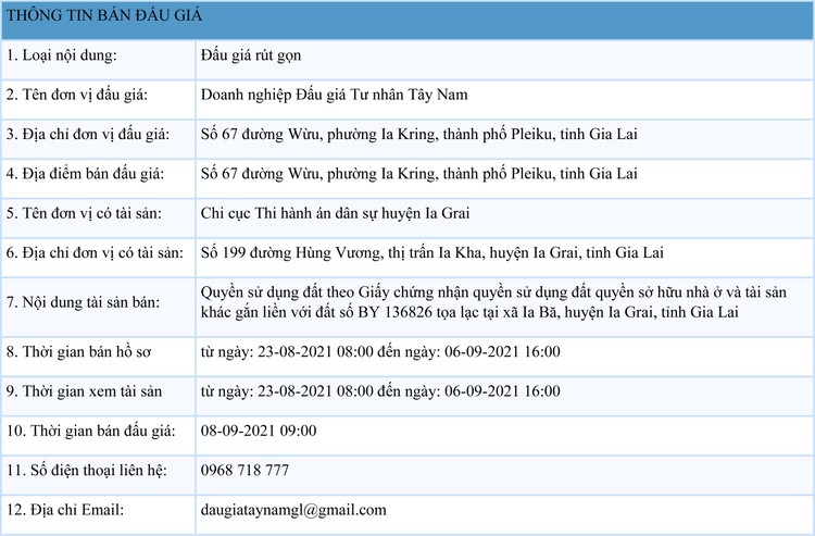 Ngày 8/9/2021, đấu giá quyền sử dụng 3.671,8 m2 và 2.795,4 m2 đất tại huyện Ia Grai, tỉnh Gia Lai ảnh 1