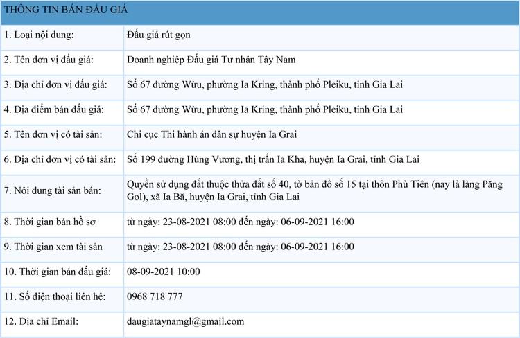 Ngày 8/9/2021, đấu giá quyền sử dụng 5.524 m2 đất tại huyện Ia Grai, tỉnh Gia Lai ảnh 1