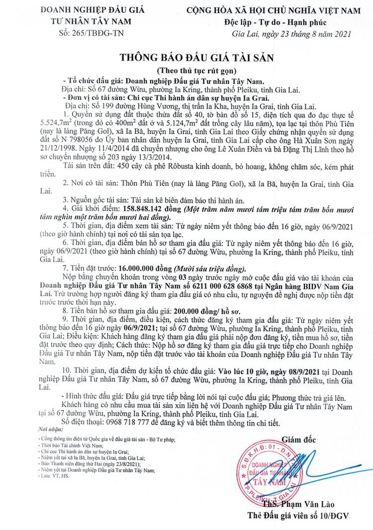 Ngày 8/9/2021, đấu giá quyền sử dụng 5.524 m2 đất tại huyện Ia Grai, tỉnh Gia Lai ảnh 2