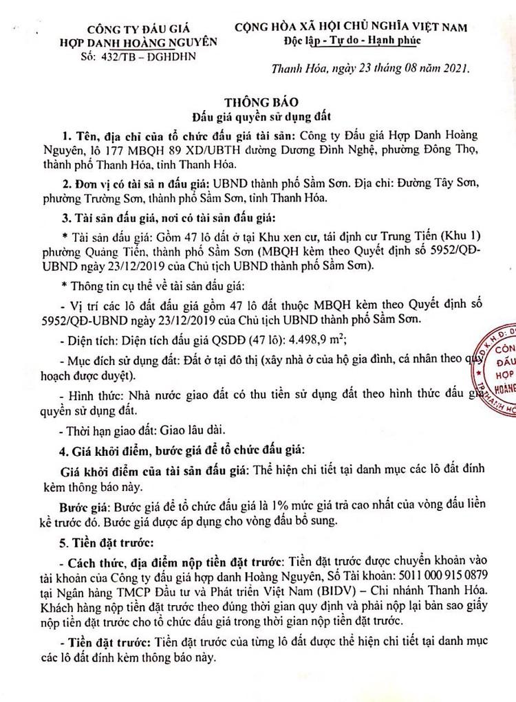 Ngày 13/9/2021, đấu giá quyền sử dụng 47 lô đất tại thành phố Sầm Sơn, tỉnh Thanh Hóa ảnh 2