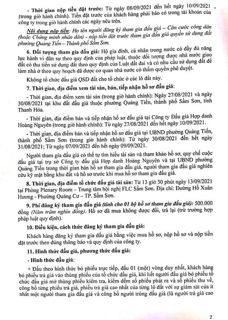 Ngày 13/9/2021, đấu giá quyền sử dụng 47 lô đất tại thành phố Sầm Sơn, tỉnh Thanh Hóa ảnh 3