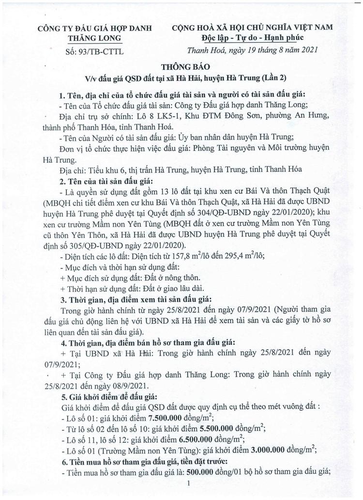 Ngày 11/9/2021, đấu giá quyền sử dụng 13 lô đất tại huyện Hà Trung, tỉnh Thanh Hóa ảnh 2
