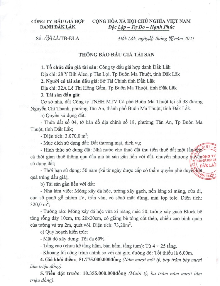 Ngày 17/9/2021, đấu giá cơ sở nhà, đất tại thành phố Buôn Ma Thuột, tỉnh Đắk Lắk ảnh 3