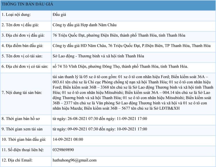 Ngày 14/9/2021, đấu giá 5 xe ô tô con tại tỉnh Thanh Hóa ảnh 1