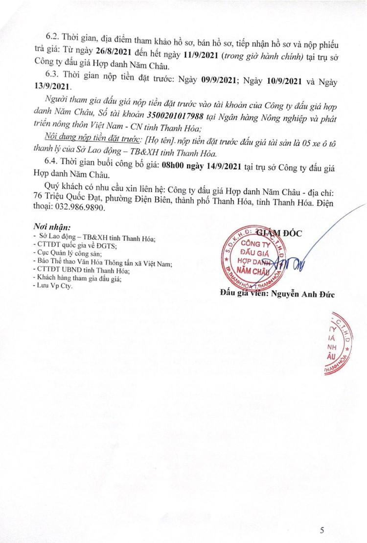 Ngày 14/9/2021, đấu giá 5 xe ô tô con tại tỉnh Thanh Hóa ảnh 6
