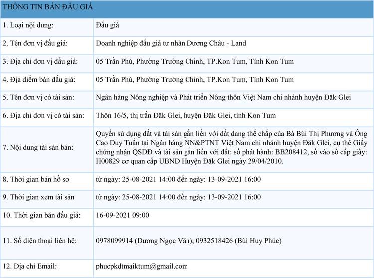 Ngày 16/9/2021, đấu giá quyền sử dụng 125 m2 đất tại huyện Đăk Glei, tỉnh Kon Tum ảnh 1