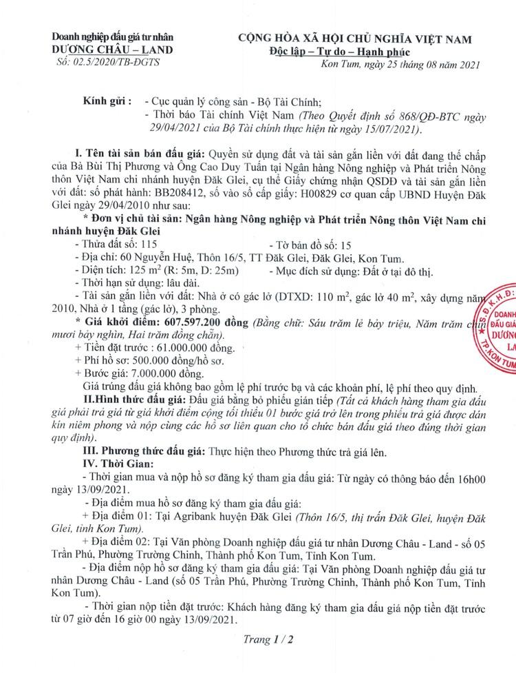 Ngày 16/9/2021, đấu giá quyền sử dụng 125 m2 đất tại huyện Đăk Glei, tỉnh Kon Tum ảnh 2