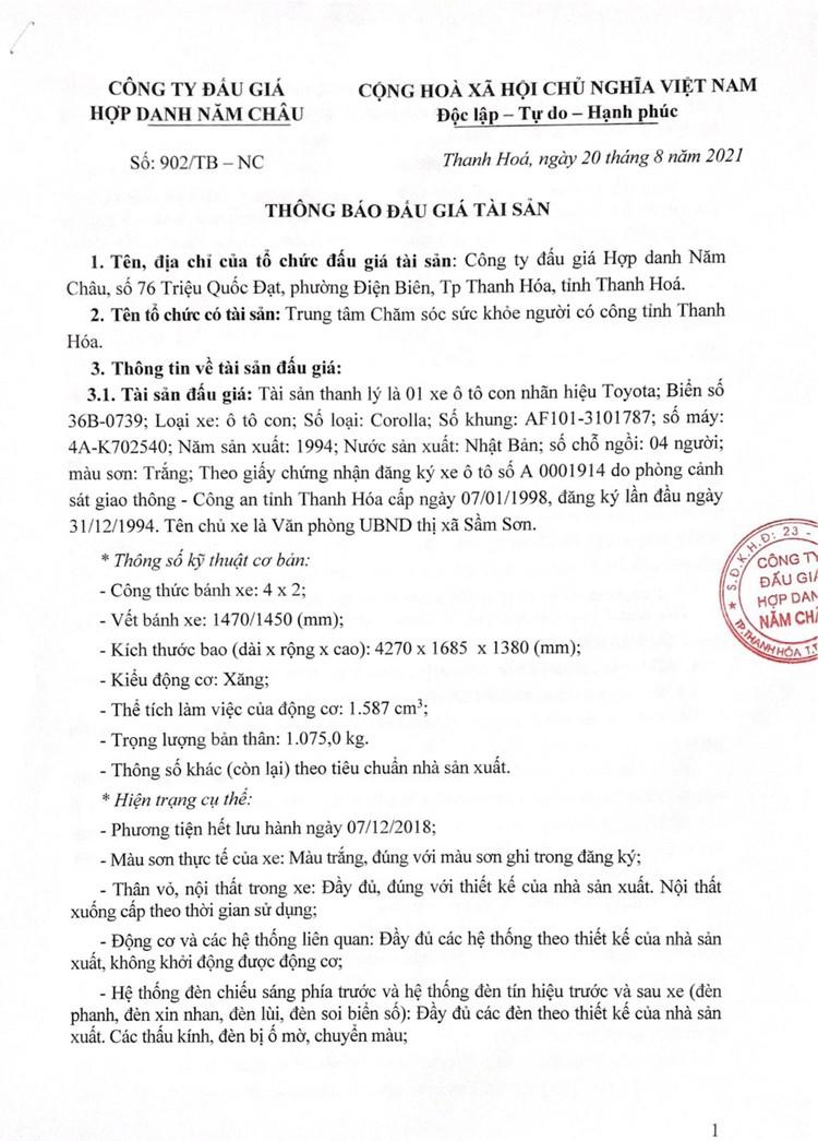 Ngày 14/9/2021, đấu giá xe ô tô Toyota tại tỉnh Thanh Hóa ảnh 2