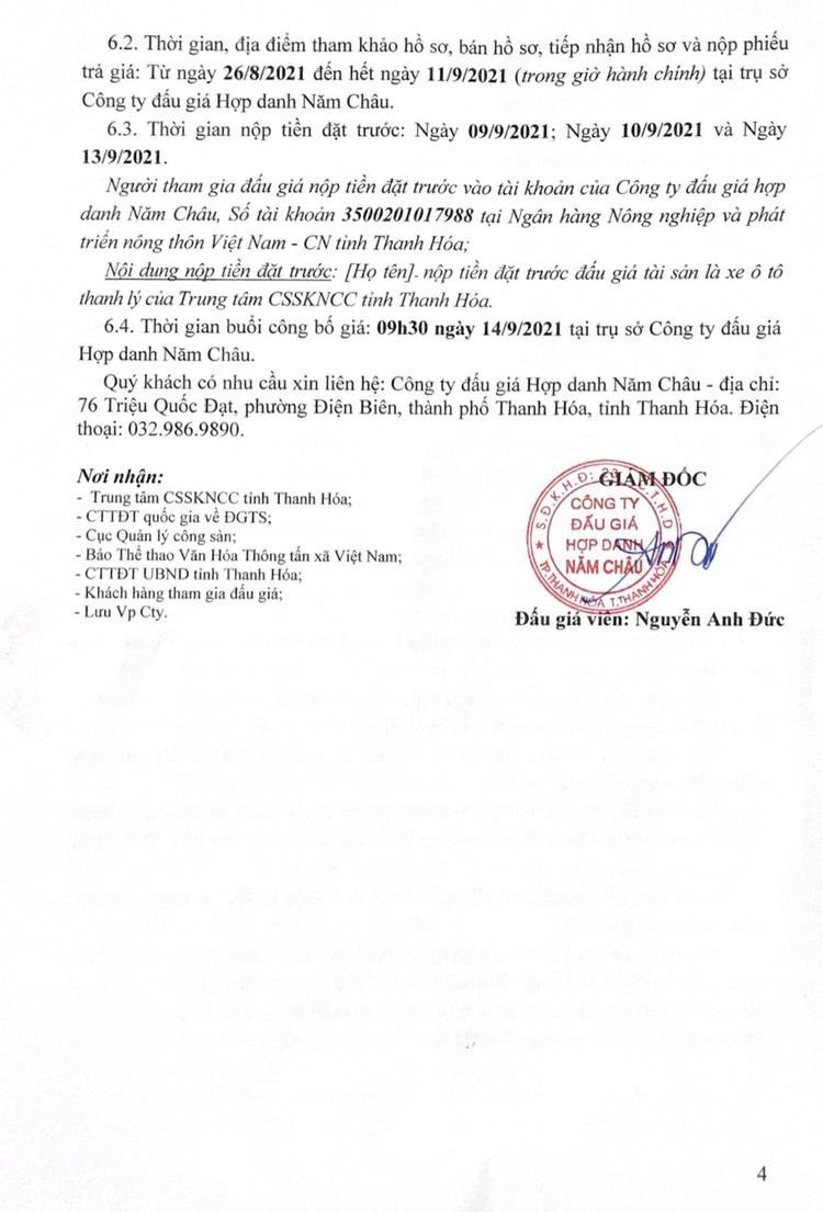 Ngày 14/9/2021, đấu giá xe ô tô Toyota tại tỉnh Thanh Hóa ảnh 5
