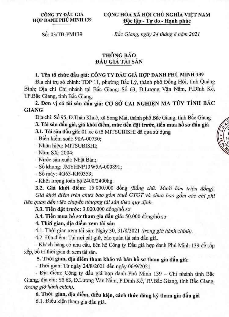 Ngày 9/9/2021, đấu giá xe ô tô MITSUBISHI tại tỉnh Bắc Giang ảnh 2