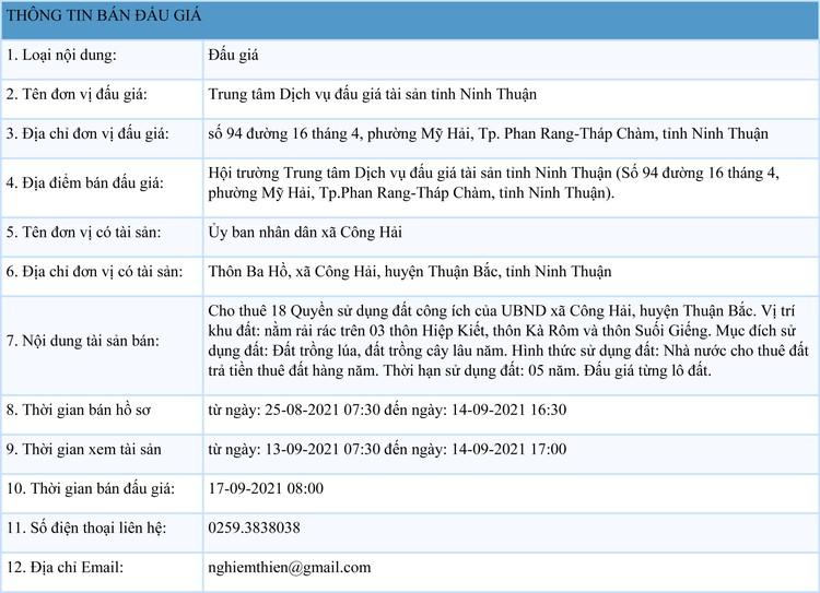 Ngày 17/9/2021, đấu giá cho thuê 18 QSDĐ công ích tại huyện Thuận Bắc, tỉnh Ninh Thuận ảnh 1