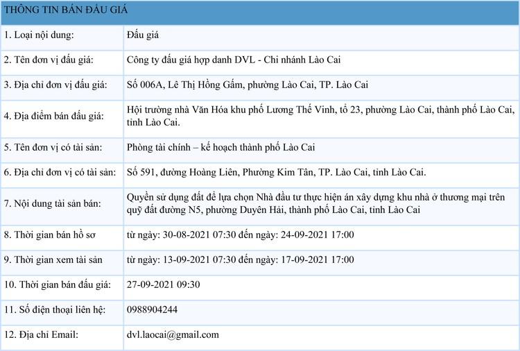 Ngày 27/9/2021, đấu giá quyền sử dụng đất tại thành phố Lào Cai, tỉnh Lào Cai ảnh 1