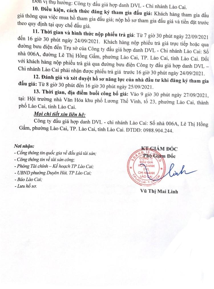 Ngày 27/9/2021, đấu giá quyền sử dụng đất tại thành phố Lào Cai, tỉnh Lào Cai ảnh 4