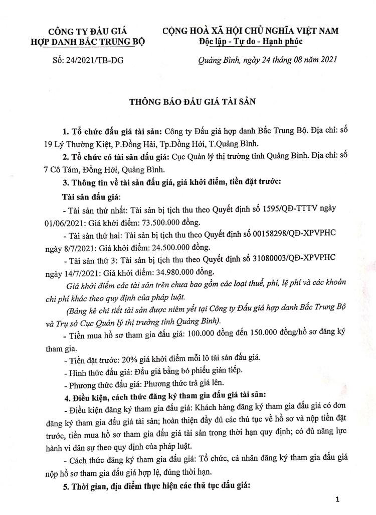 Ngày 16/9/2021, đấu giá lô hàng hóa tịch thu tại tỉnh Quảng Bình ảnh 2