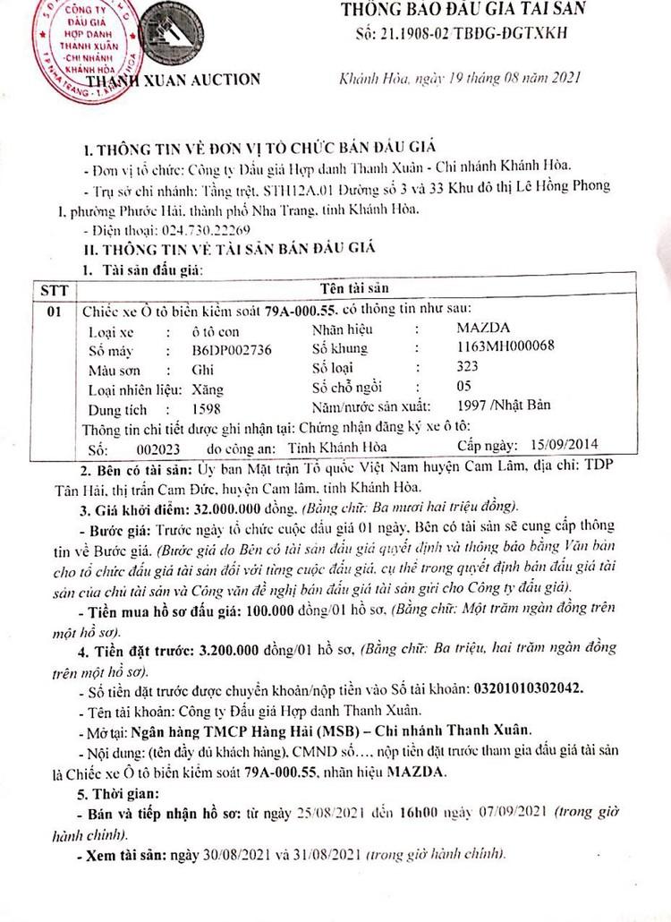 Ngày 10/9/2021, đấu giá xe ô tô đã qua sử dụng tại tỉnh Khánh Hòa ảnh 2