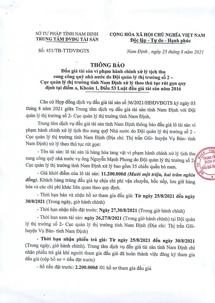 Ngày 1/9/2021, đấu giá lô 35 chiếc quần bò nam tại tỉnh Nam Định ảnh 2