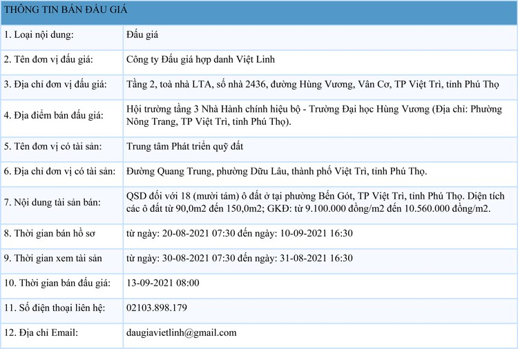 Ngày 13/9/2021, đấu giá quyền sử dụng 18 lô đất ở tại thành phố Việt Trì, tỉnh Phú Thọ ảnh 1