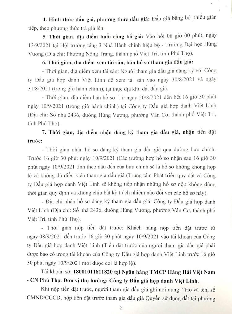 Ngày 13/9/2021, đấu giá quyền sử dụng 18 lô đất ở tại thành phố Việt Trì, tỉnh Phú Thọ ảnh 3