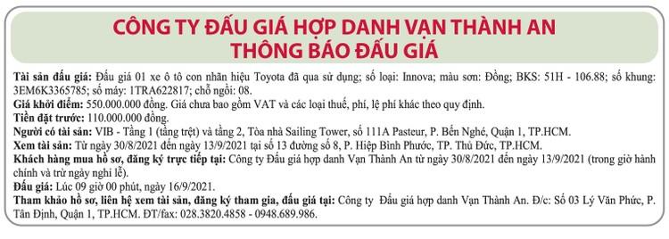 Ngày 16/9/2021, đấu giá xe ô tô Toyota tại TP.HCM ảnh 1