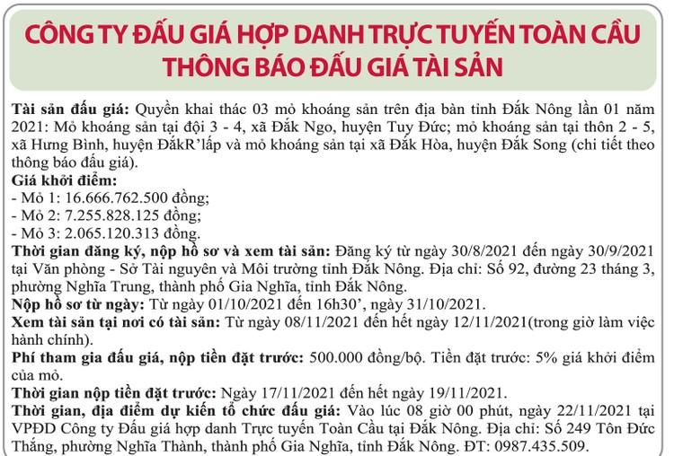 Ngày 22/11/2021, đấu giá quyền khai thác 3 mỏ khoáng sản tại huyện Tuy Đức, Đắk R'lấp, Đắk Song, tỉnh Đắk Nông ảnh 1