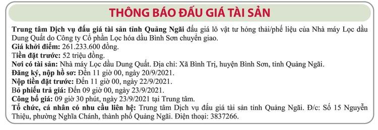 Ngày 23/9/2021, đấu giá lô vật tư hư hỏng thải/phế liệu tại tỉnh Quảng Ngãi ảnh 1