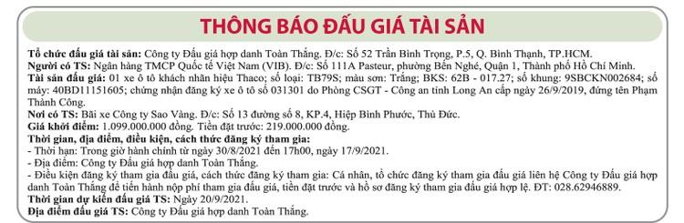 Ngày 20/9/2021, đấu giá xe ô tô Thaco tại TP.HCM ảnh 1