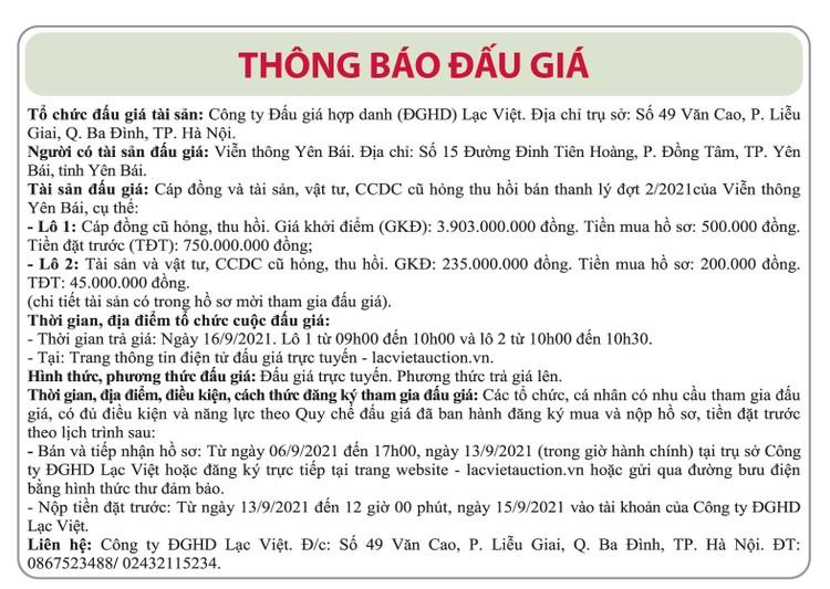 Ngày 16/9/2021, đấu giá cáp đồng cũ, vật tư thu hồi tại tỉnh Yên Bái ảnh 1