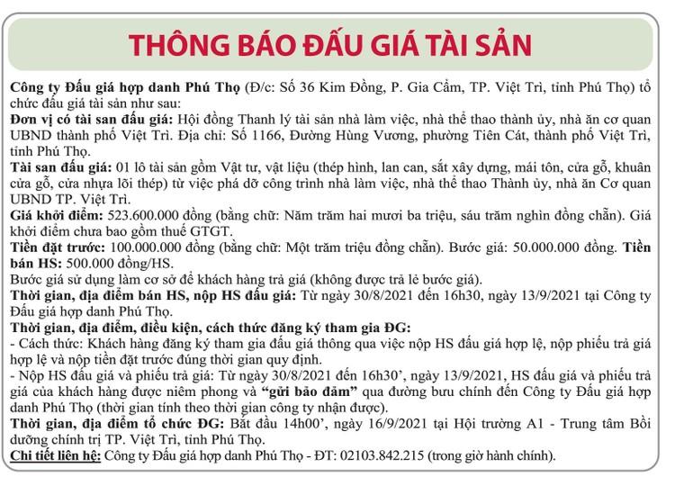 Ngày 16/9/2021, đấu giá vật tư, vật liệu phá dỡ tại tỉnh Phú Thọ ảnh 1