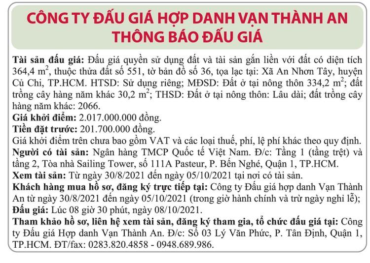 Ngày 8/10/2021, đấu giá quyền sử dụng đất tại huyện Củ Chi, TP.HCM ảnh 1