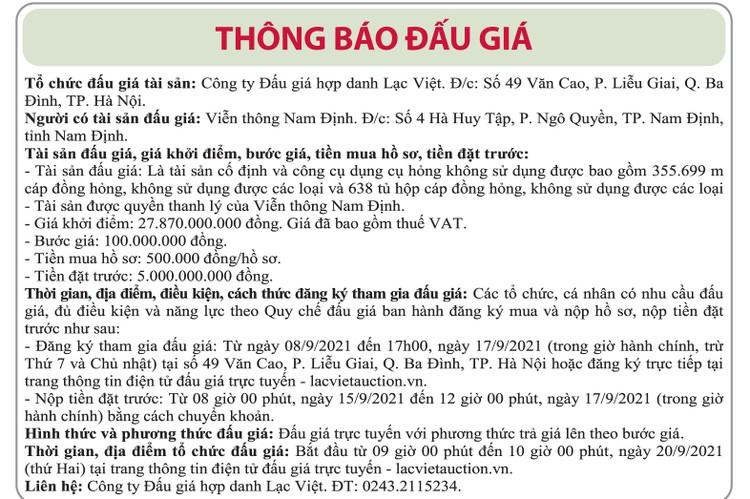 Ngày 20/9/2021, đấu giá cáp đồng và tủ hộp cáp đồng tại tỉnh Nam Định ảnh 1