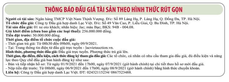 Ngày 9/9/2021, đấu giá xe ô tô JAC tại Hà Nội ảnh 1