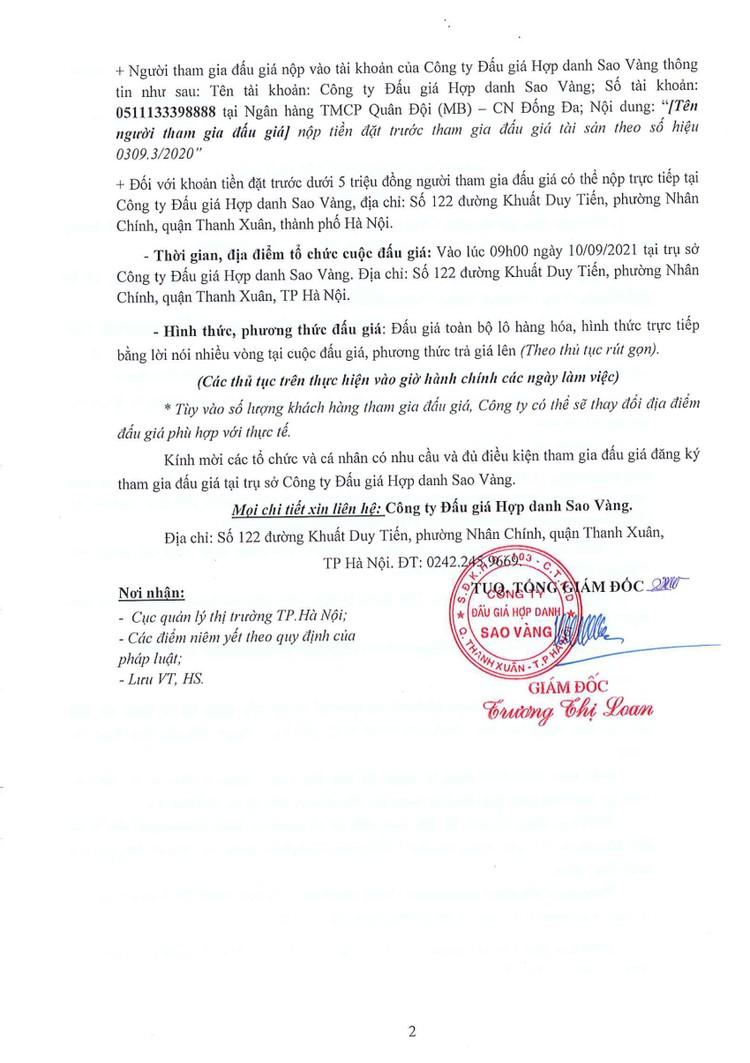 Ngày 10/9/2021, đấu giá hàng hóa các loại bị tịch thu do vi phạm hành chính tại Hà Nội ảnh 3