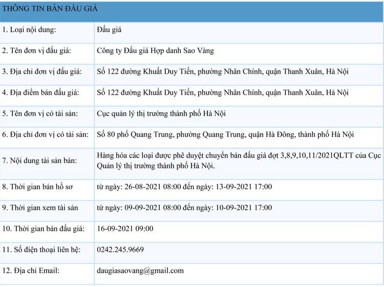 Ngày 16/9/2021, đấu giá hàng hóa các loại tại Hà Nội ảnh 1