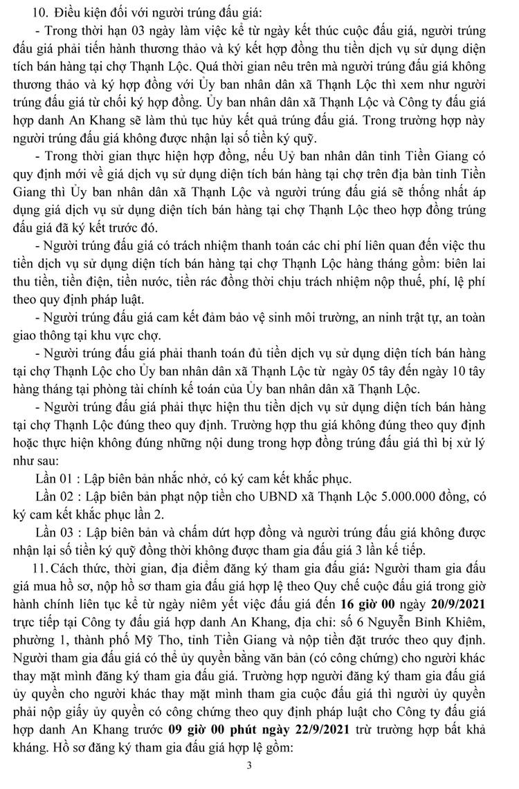Ngày 23/9/2021, đấu giá quyền thu tiền dịch vụ sử dụng diện tích bán hàng tại tỉnh Tiền Giang ảnh 4