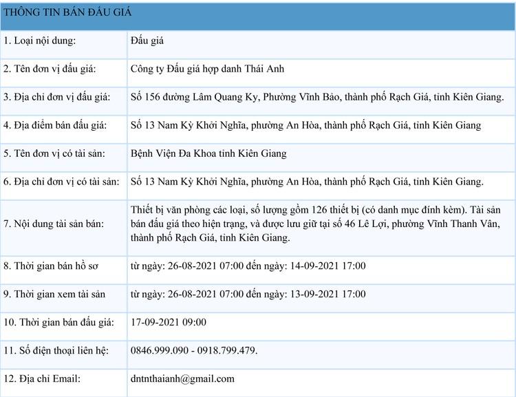 Ngày 17/9/2021, đấu giá thiết bị văn phòng các loại tại tỉnh Kiên Giang ảnh 1
