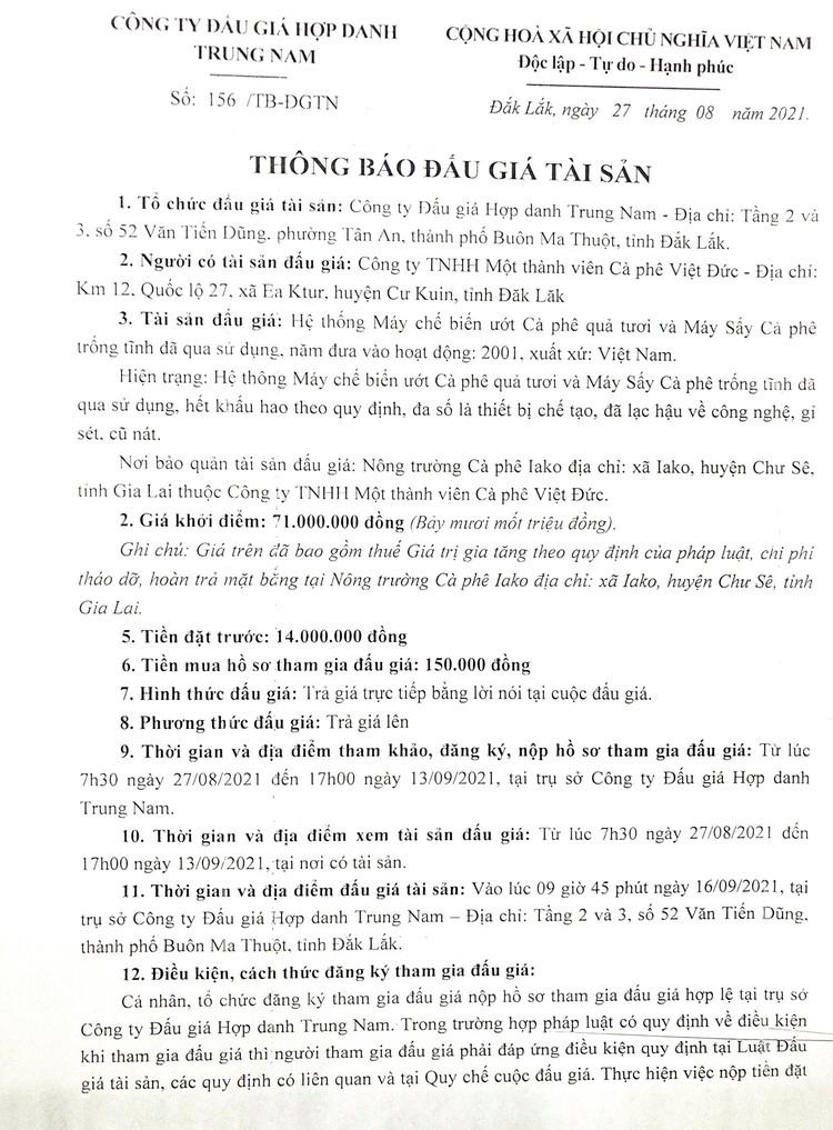 Ngày 16/9/2021, đấu giá hệ thống máy chế biến, sấy cà phê tại tỉnh Đắk Lắk ảnh 3