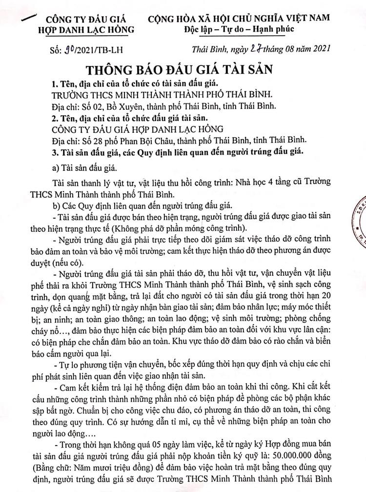 Ngày 20/9/2021, đấu giá vật liệu, vật tư thu hồi công trình tại tỉnh Thái Bình ảnh 2