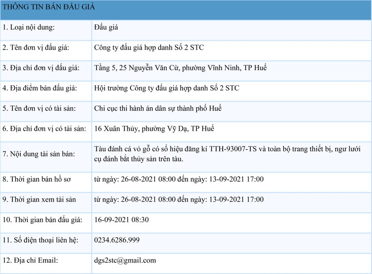 Ngày 16/9/2021, đấu giá tàu đánh cá vỏ gỗ tại tỉnh Thừa Thiên Huế ảnh 1