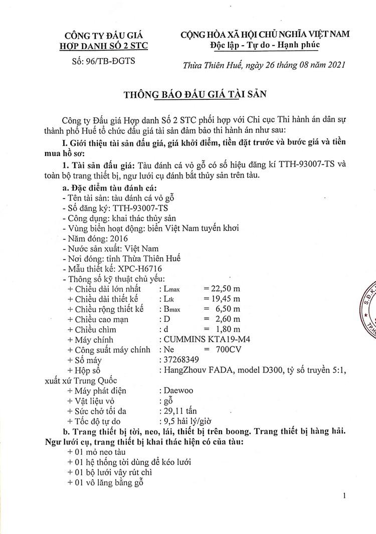 Ngày 16/9/2021, đấu giá tàu đánh cá vỏ gỗ tại tỉnh Thừa Thiên Huế ảnh 2