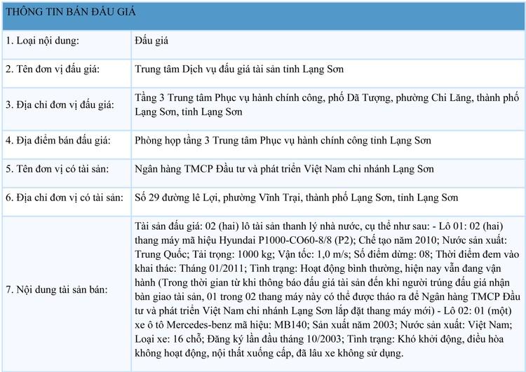 Ngày 15/9/2021, đấu giá 2 thang máy, 1 xe ô tô Mercedes-benz tại tỉnh Lạng Sơn ảnh 1