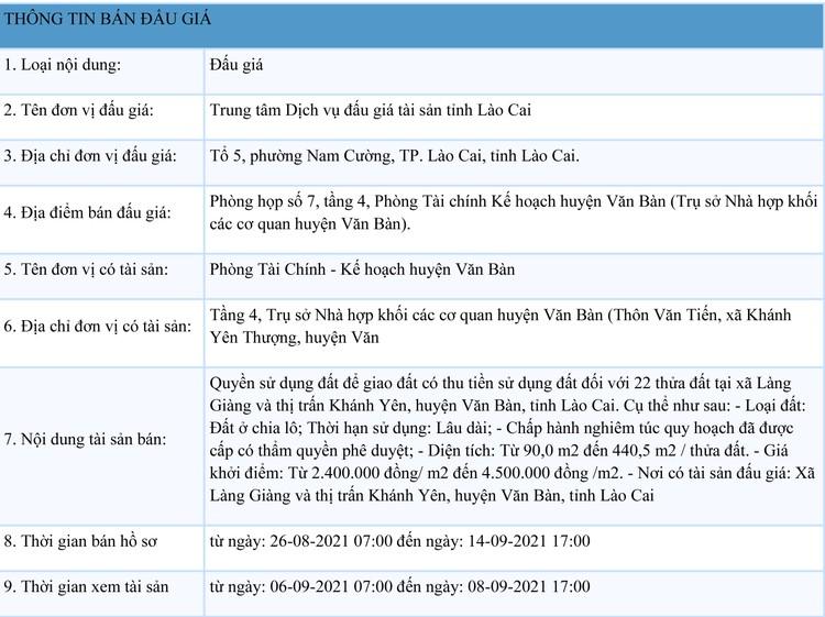 Ngày 17/9/2021, đấu giá quyền sử dụng 22 thửa đất tại huyện Văn Bàn, tỉnh Lào Cai ảnh 1
