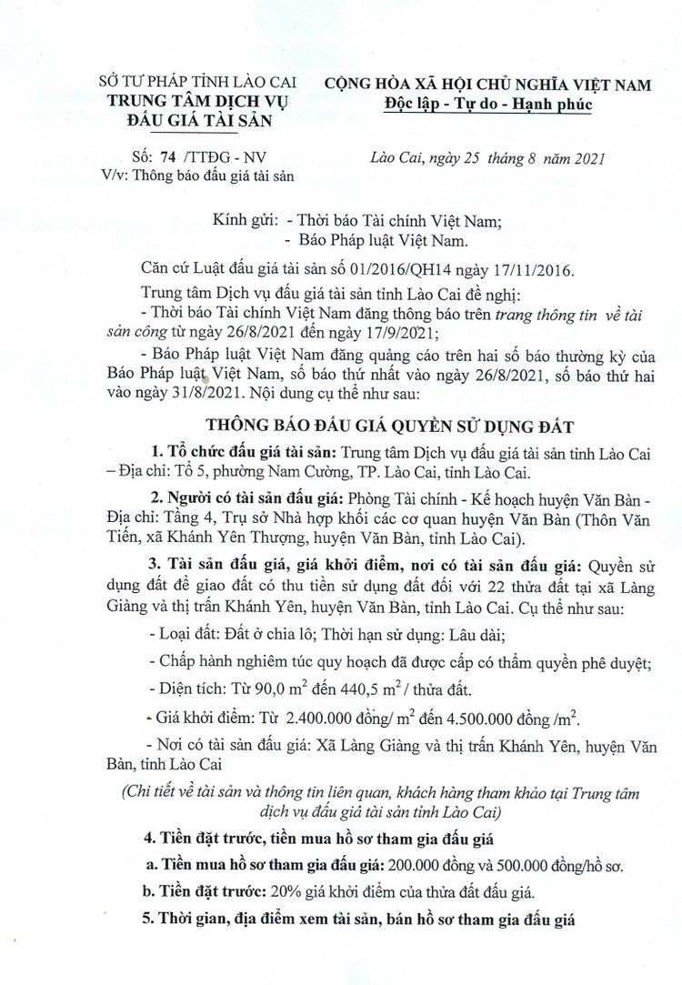 Ngày 17/9/2021, đấu giá quyền sử dụng 22 thửa đất tại huyện Văn Bàn, tỉnh Lào Cai ảnh 3