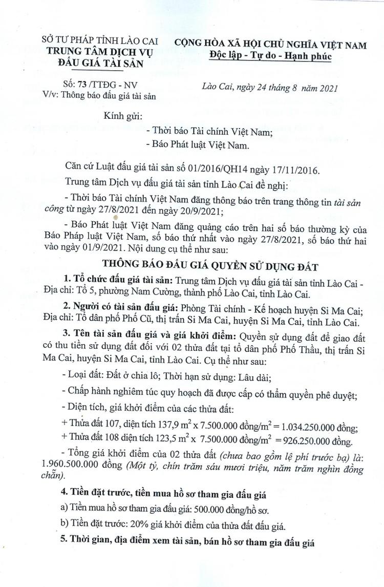 Ngày 20/9/2021, đấu giá quyền sử dụng 2 thửa đất tại huyện Si Ma Cai, tỉnh Lào Cai ảnh 2