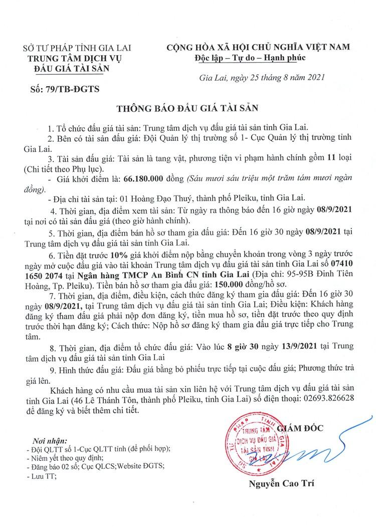 Ngày 13/9/2021, đấu giá tang vật vi phạm hành chính tại tỉnh Gia Lai ảnh 2