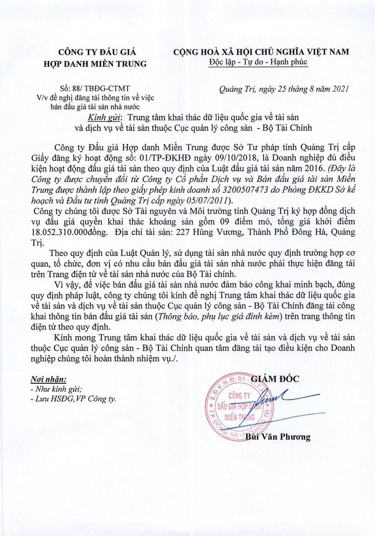 Ngày 20/11/2021, đấu giá quyền khai thác tại 9 điểm mỏ khoáng sản tại huyện Hải Lăng, Cam Lộ, Đakrông, Triệu Phong và TX Quảng Trị, tỉnh Quảng Trị ảnh 3
