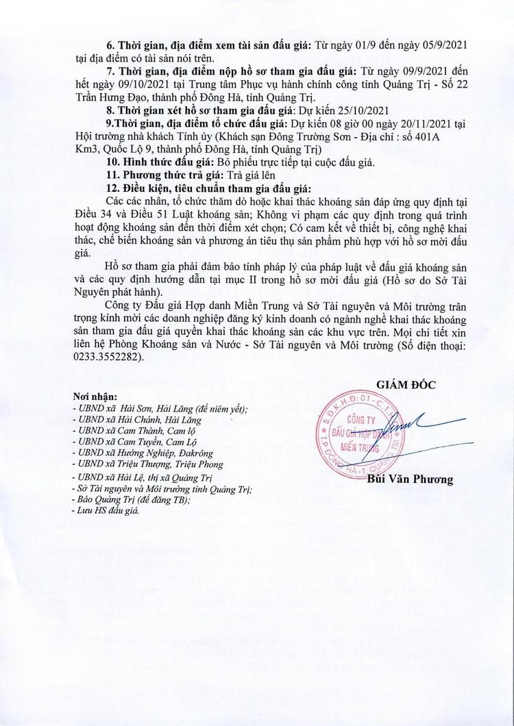 Ngày 20/11/2021, đấu giá quyền khai thác tại 9 điểm mỏ khoáng sản tại huyện Hải Lăng, Cam Lộ, Đakrông, Triệu Phong và TX Quảng Trị, tỉnh Quảng Trị ảnh 5